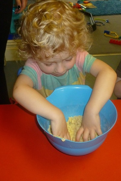 Getting their hands dirty with a Gruffalo Crumble
