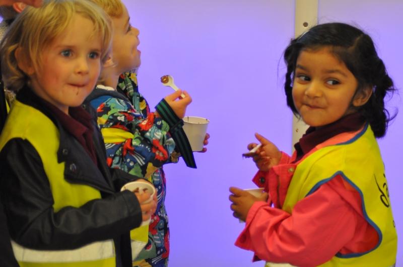 Tasting their warm Cadbury chocolate