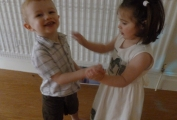 The children dancing with each other