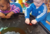 Children enjoyed playing with ice