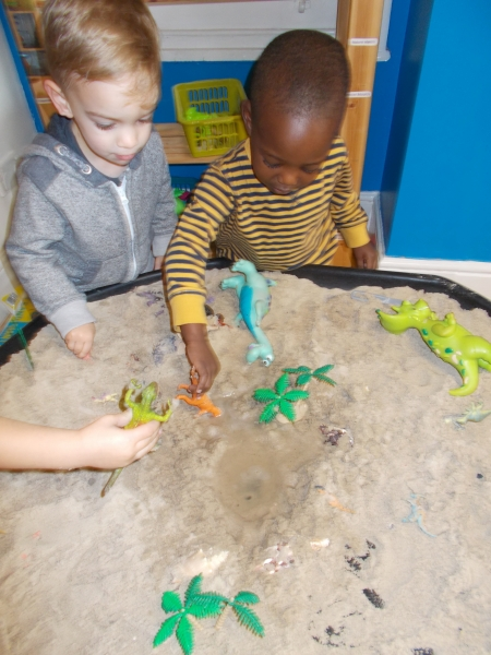 Helping each other identify the dinosaurs
