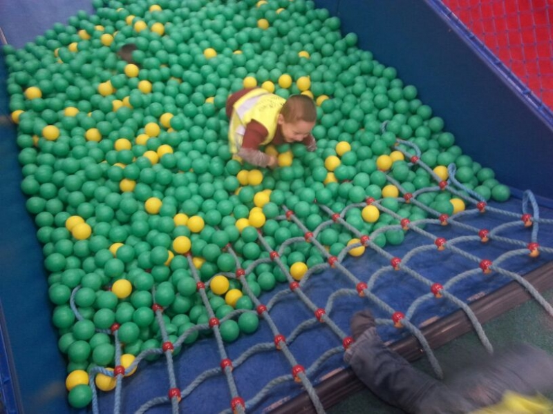 Fell into the ball pit