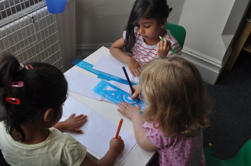 Drawing their own pictures