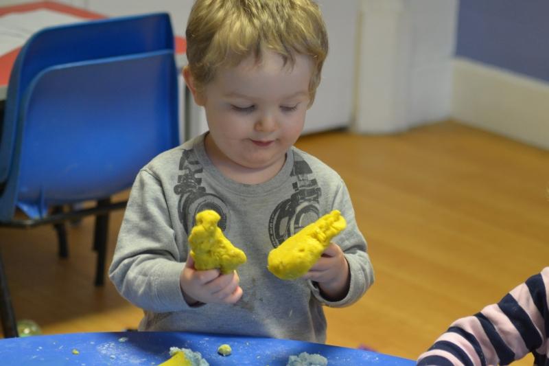 Examining the pieces of dough