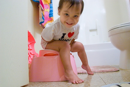 Child using the potty