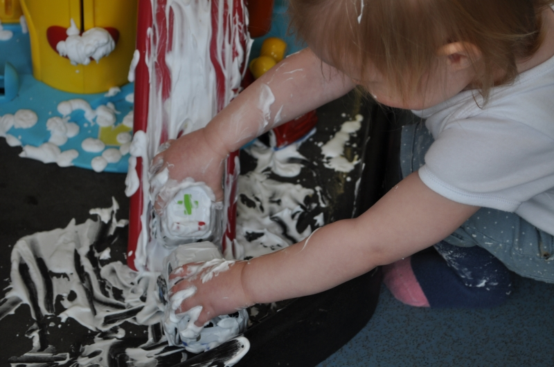 Playing in the shaving foam