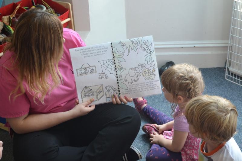The children interacting