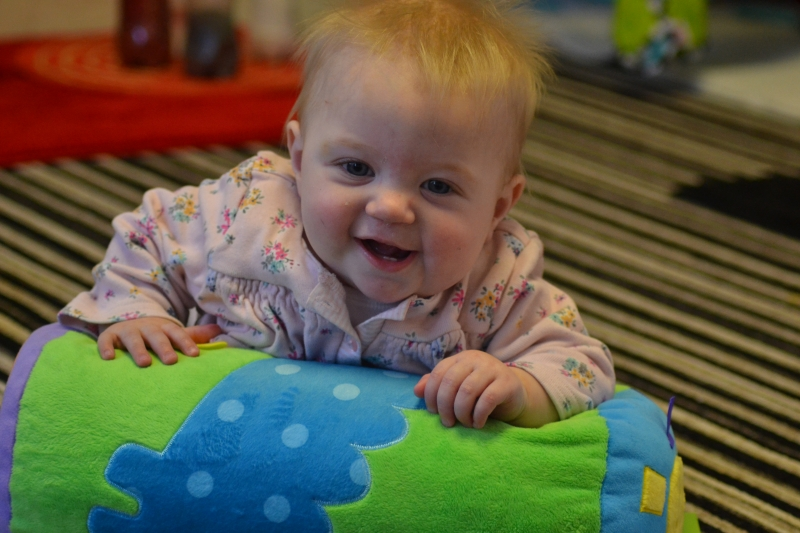 Using soft roll to do Tummy Time