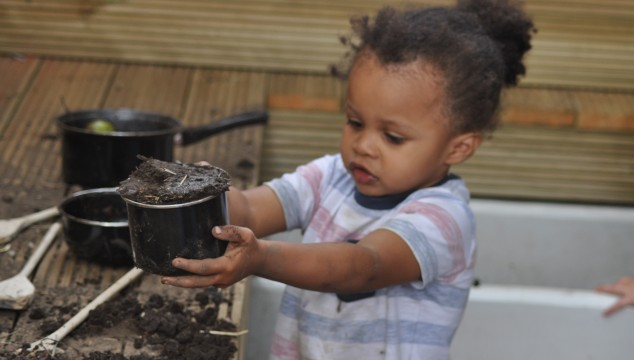 Making mud cakes in the nature area