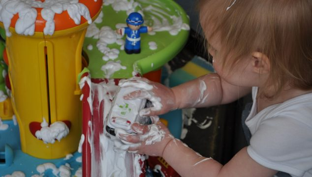 Washing the cars with shaving foam